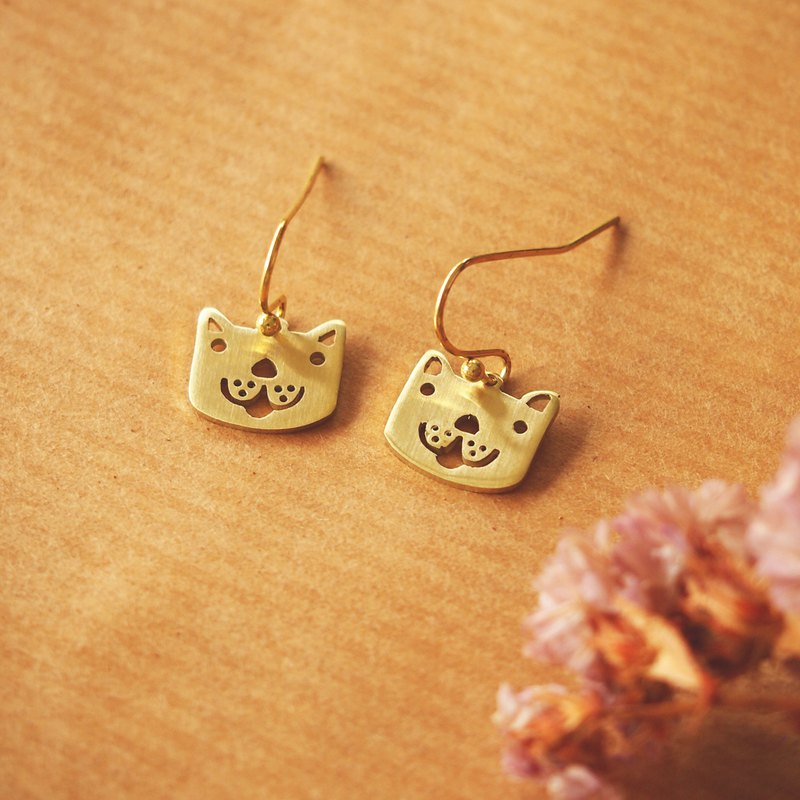 Lovely dog brass earrings (Handmade)