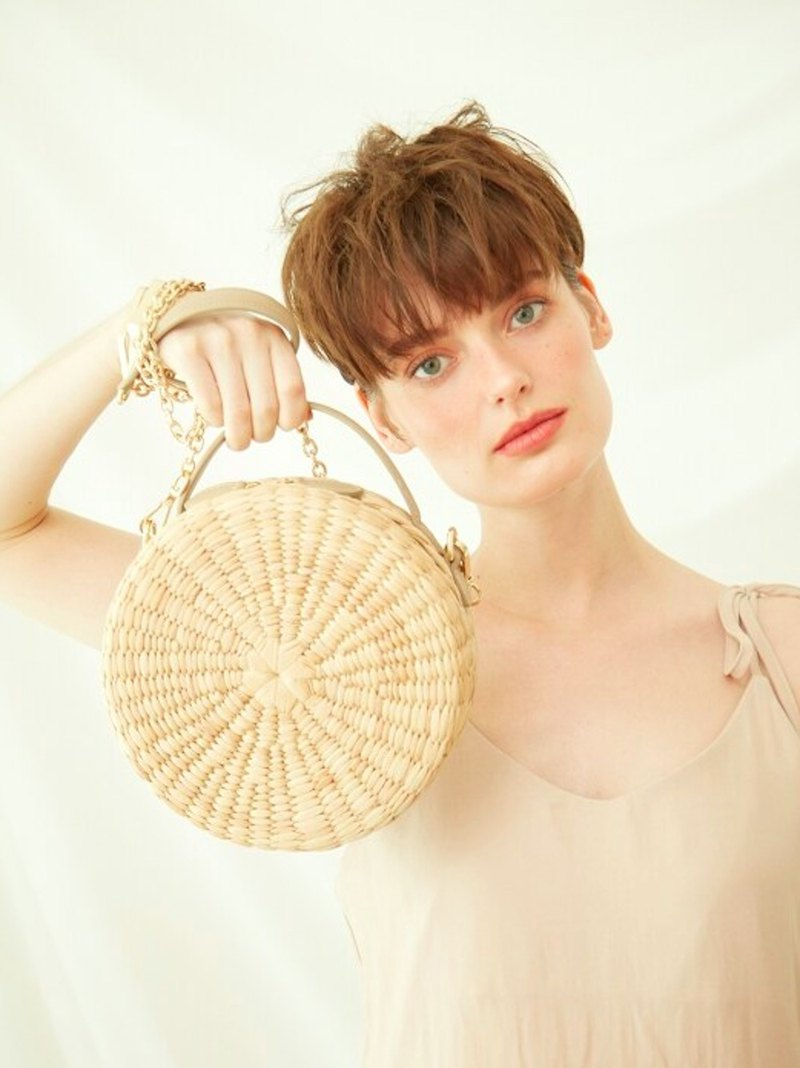 JenLee Studio Le Biscuit Straw Bag _ Beige