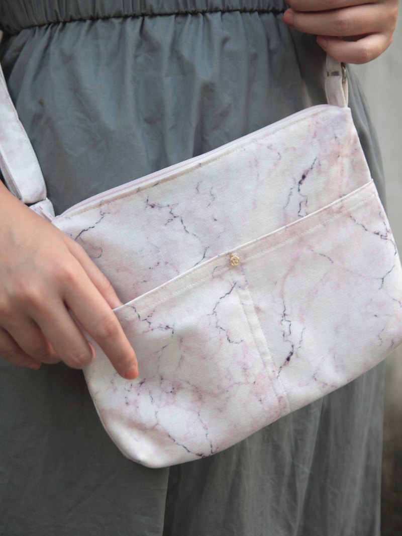 Pink marble hand-stitched lightweight side bag