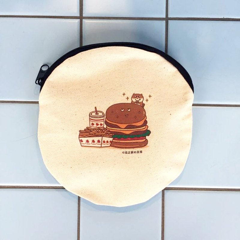 Hamburger's daily canvas round bag (cosmetic bag) hand-printed Make-up bag