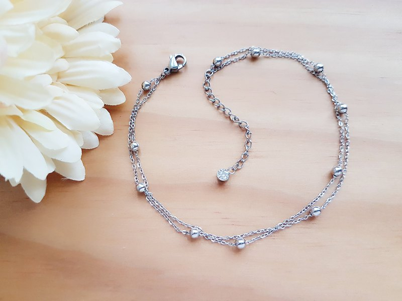 Stainless steel ball chain anklet  (L)9.8""