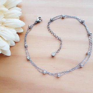 Belle blossoming water wafer beads double chain anklet white steel anklet unchanged black not afraid of water anellet