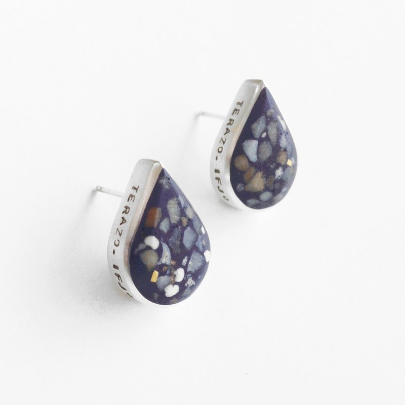 Terrazzo04- Silver pin earrings