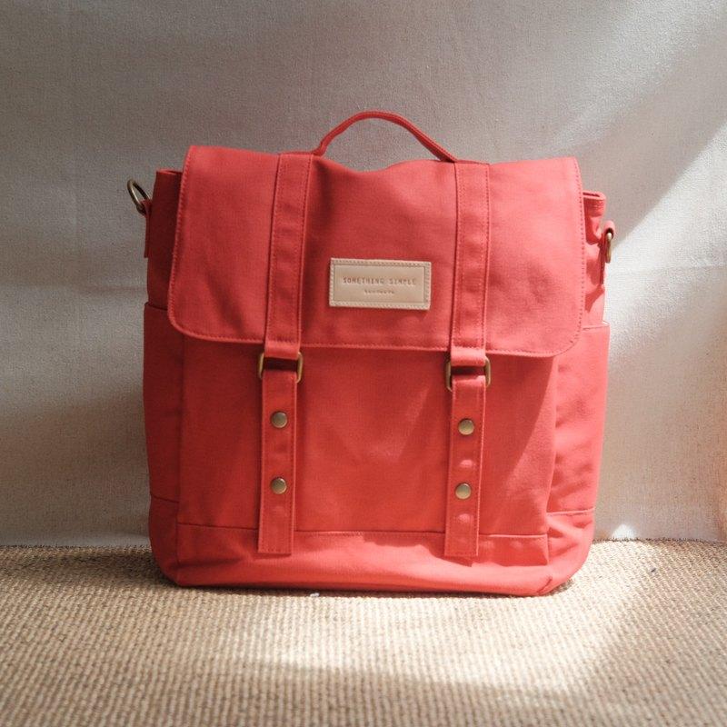 帆布郵差包 斜背包 後背包 _ KELLY : 紅色