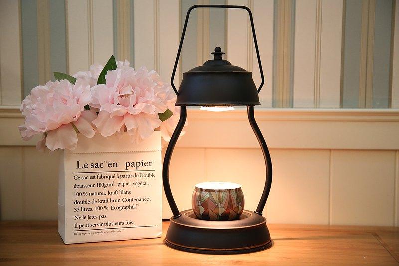 復古提燈式融蠟燈/蠟燭暖燈-黑金-送精油大豆蠟燭-現貨-可調光