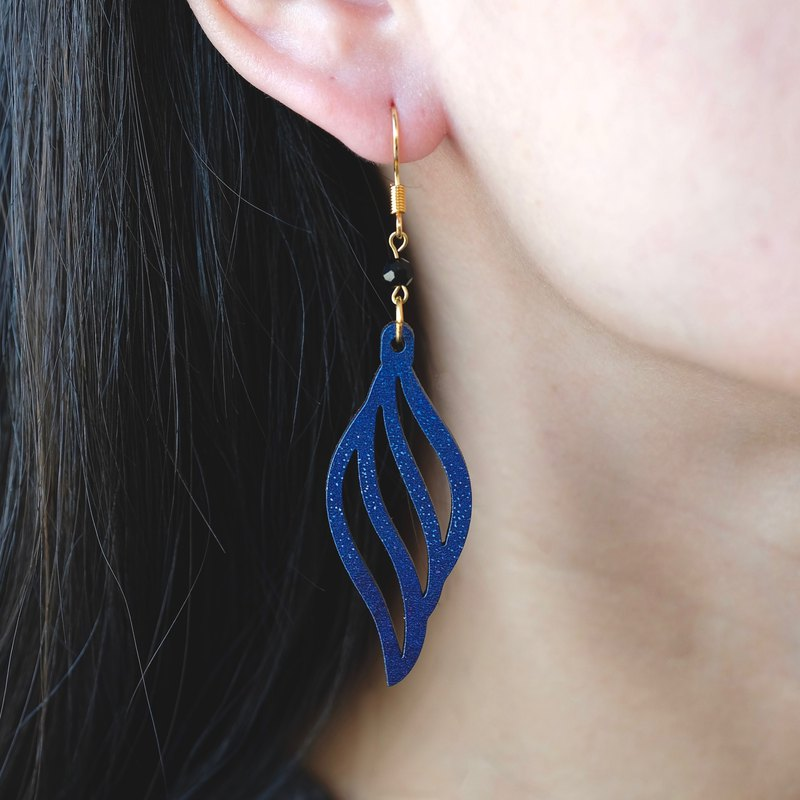 Wood earrings-Spiral blue