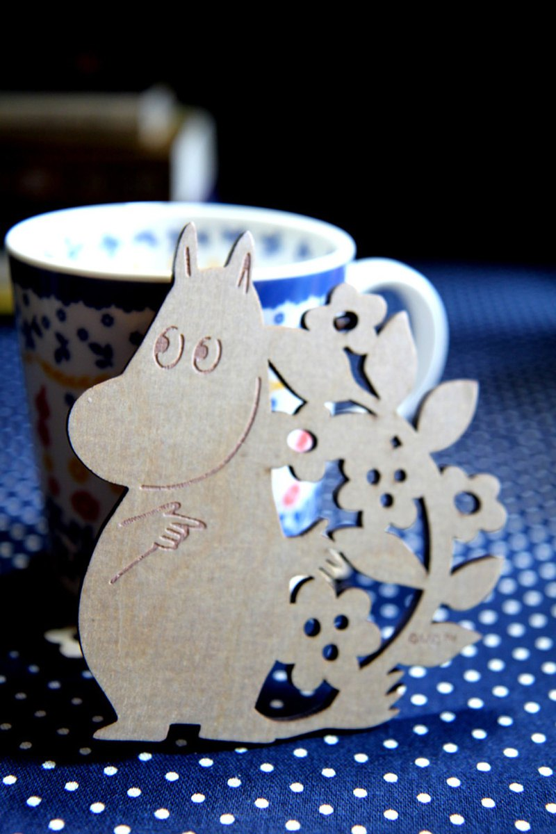 MOOMIN glutinous rice - natural wood series woodcarving coaster (glutinous rice)