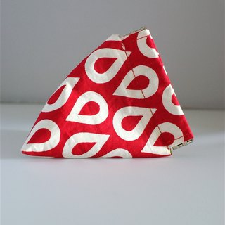 Triangle Snap Pouch (Red White patterns)