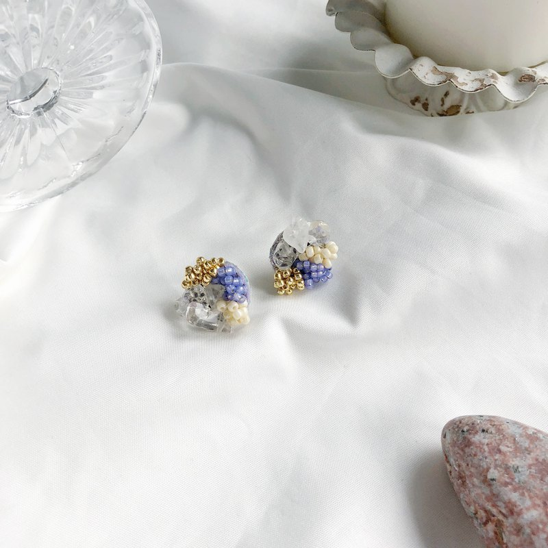 Crystal beaded earrings with artificial fur ball