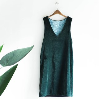 River Water - Aomori oil grass youth log antique corduroy one-piece dress dress
