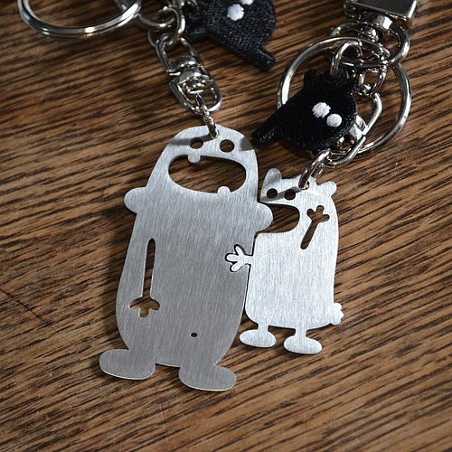 Don't bite my ear! Stainless Steel Keychain Valentine's Day set