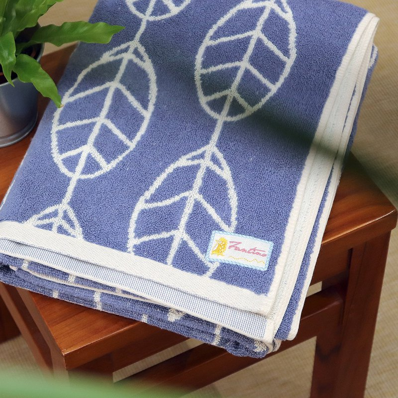 Thick hand-colored yarn 100% cotton absorbent towel - indigo