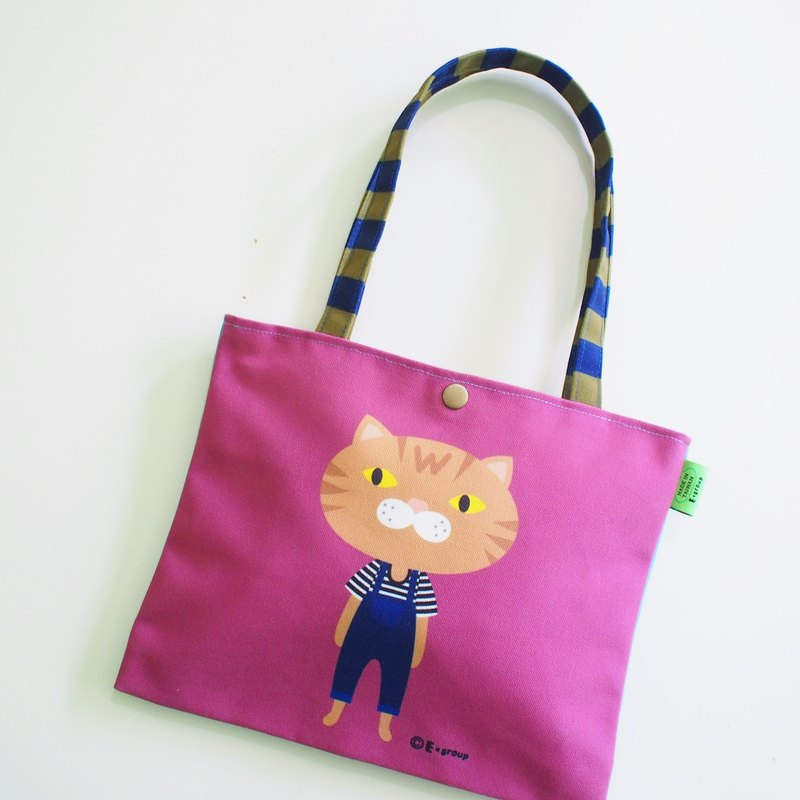 E * group new shoulder bags double-sided design (meow orange violet) canvas bag canvas bag cat frog
