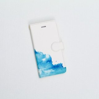 "Orders production] pocketbook type iPhone case ""blue, cloud."""