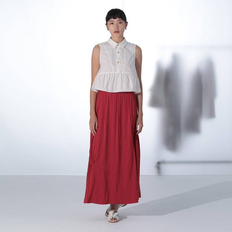 Red Gathering A-Line Skirt