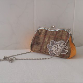 M-shape large purse made of pongee  -with beaded emboridery motif