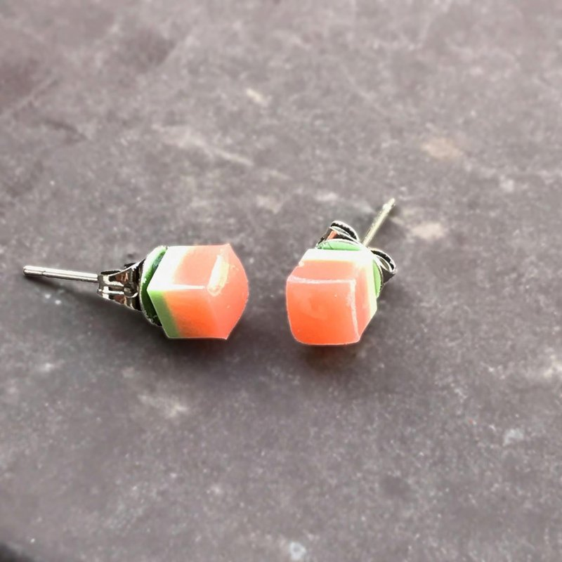Resin Earrings-03 - Solid Series Impervious Watermelon Color