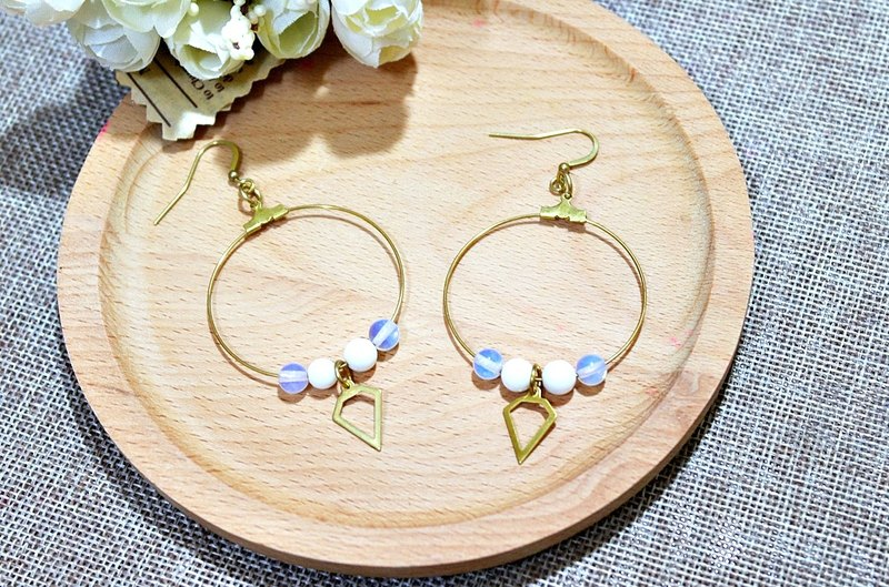 Brass natural stone * X * white circle - hook earrings