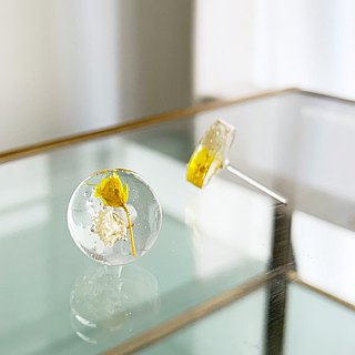 Stud clipping type of earrings contained Yellow Babys breath (12mm)
