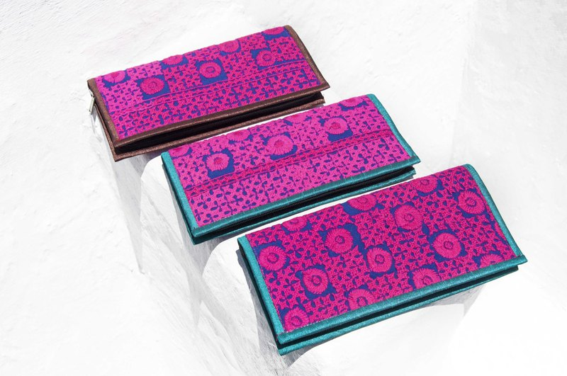Hand-embroidered wallet national wind long clip embroidery wallet handmade lace long clip - desert lace embroidery wind