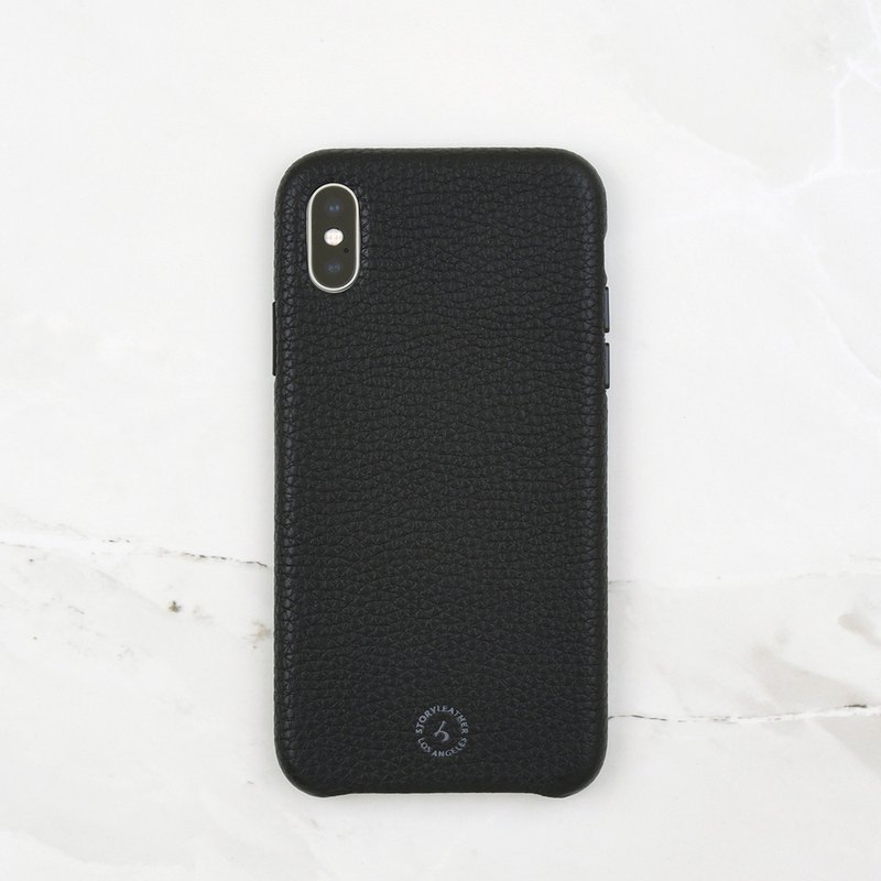 iPhone Xs trilateral bag back shell spot (Litchi black)