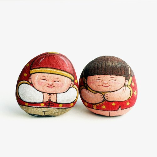 Chinese new year baby stone art.