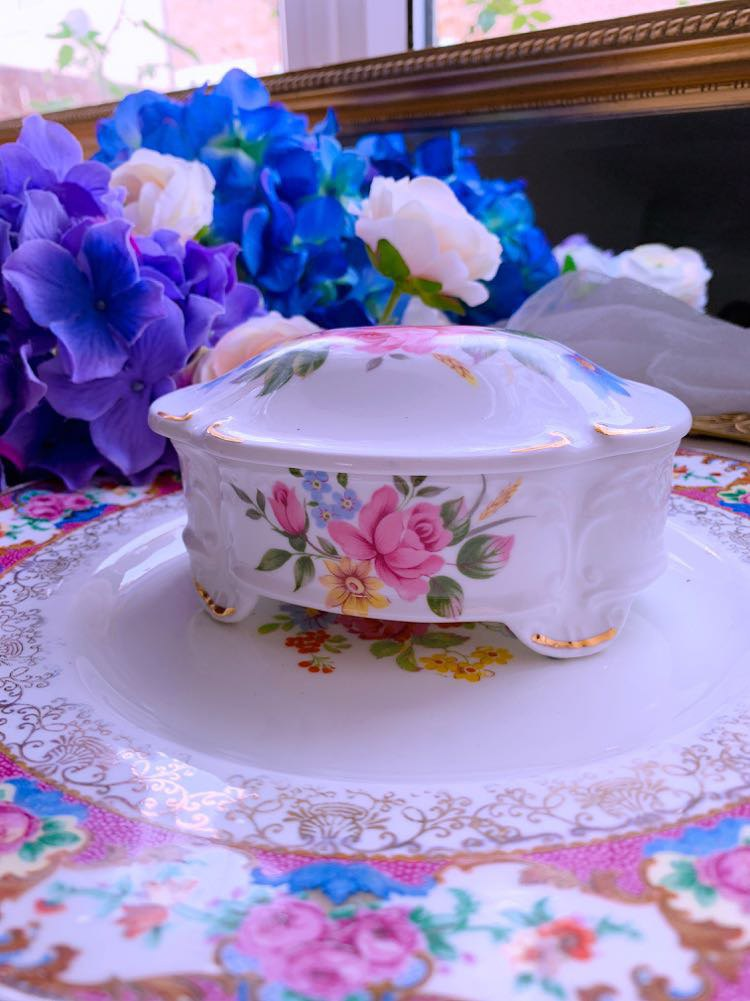 British bone china flower jewelry box designated buyer subscript