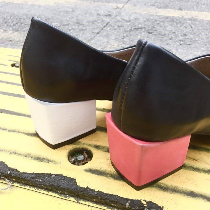 Painting # 991 // tap low heels // (black * red white with)