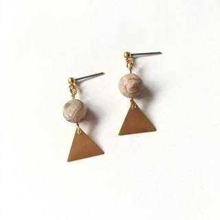 Brilliant ◆ [gravel series] Jupiter natural stone agate sand surface triangle brass earrings ear clip ear acupuncture