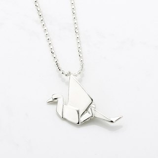 Origami Sterling silver crane folded crane s925 sterling silver necklace