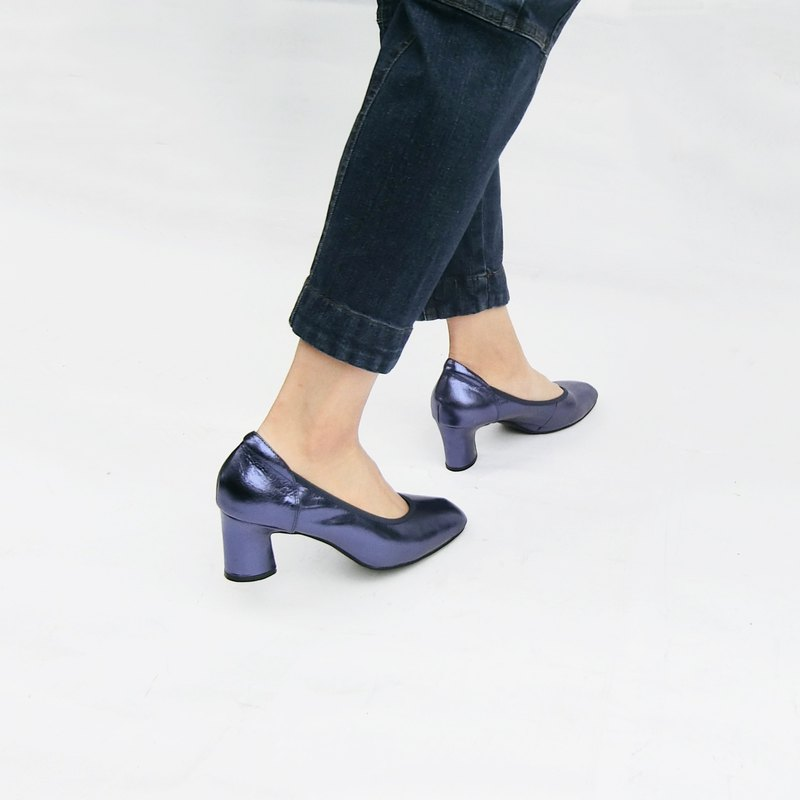 Metal light leather heel shoes||Taro woman's private psychedelic blue|| 8176
