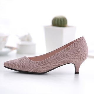 Athena-French Pink Rose-Snake Pointed Pointed Leather Low Heel Shoes (not sold out)
