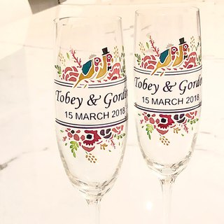My Crystal Champagne Glasses - Parrot ( including engraved names & date )