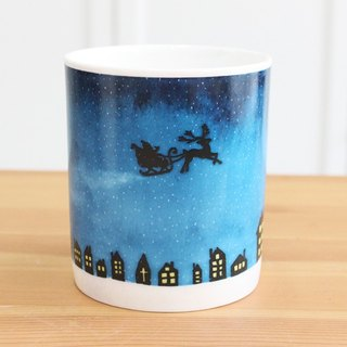 Christmas Gift Bone Porcelain Mug - Silver Christmas Night Exchange Gift