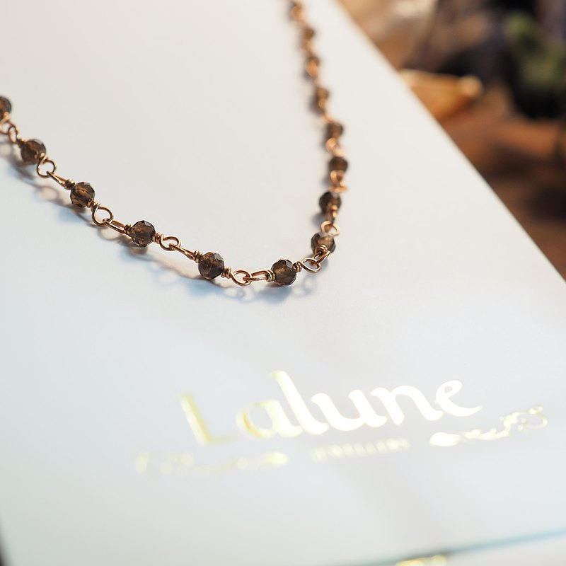 [Buy one get one free] [Lalune] love yourself hand-made faceted smoke crystal 925 sterling silver rose gold fine bracelet