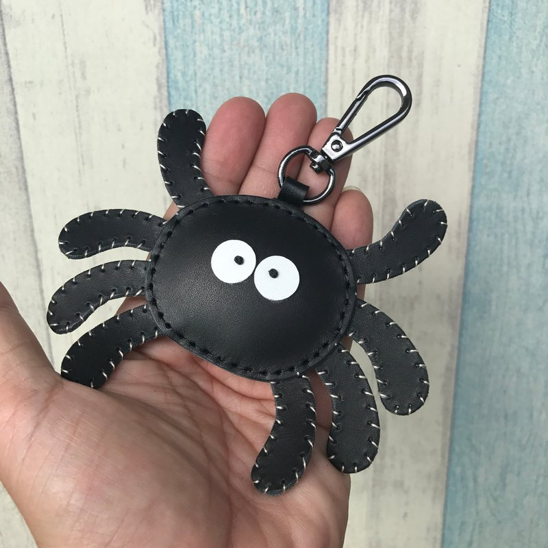 Black cute spider handmade sewn leather keychain small size small size