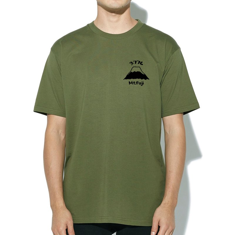 Pocket Mt Fuji 3776 army green t shirt