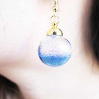 * Rosy Garden * purple galaxy liquid inside glass ball earrings