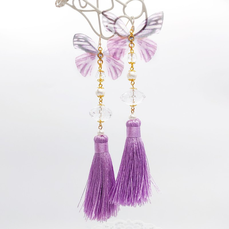 Daqian design retro noble purple tulle butterfly tassel earrings / clip gift lover