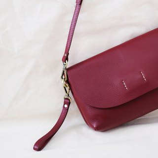 ABBIE - Burgundy red  / Minimal crossbody leather bag-genuine chamois leather