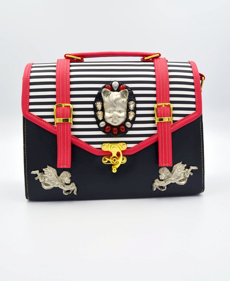 Silver cat ear doll red black and white striped handbag
