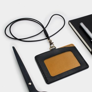 RENEW - Horizontal ID card holder, card holder black + brown vegetable tanned leather hand-sewn