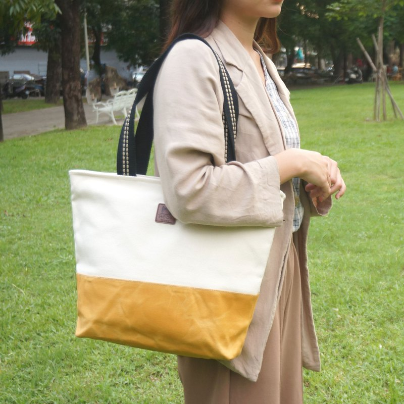 Stitching Tote Bag - Mustard Seeds