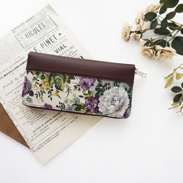 Elegant Rose Round Zipper Long wallet Purple