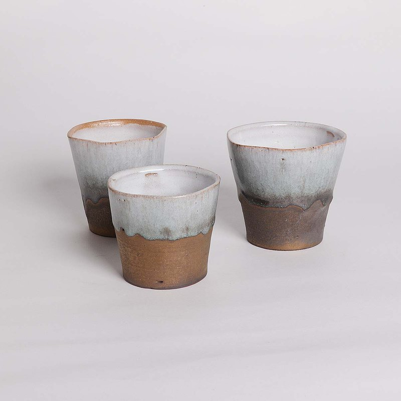 Ming ya kiln l 萩 glaze pentagonal flow gold water cup group