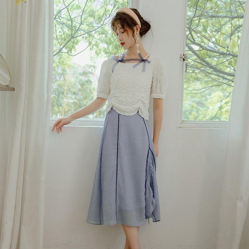 藍色抽繩 設計感半裙洋裝  女夏