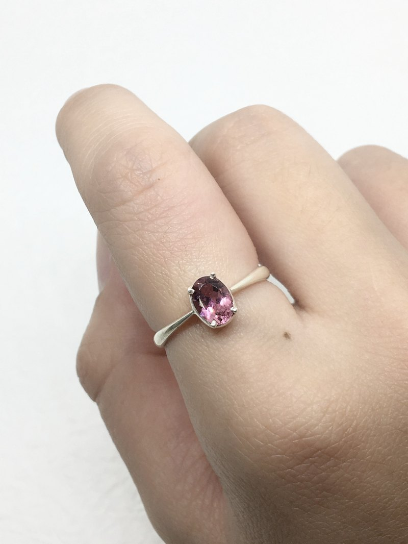 Pink tourmaline fashion claw inlay sterling silver inlay ring Nepal handmade inlay production