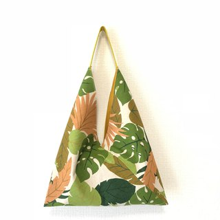 Triangle Tote Bag / Japanese Origami Bag - Rainforest - Green