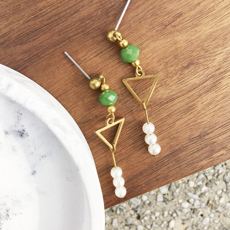 Laolin groceries l hand made brass earrings cotton pearl triangle glazed ear hook l ear pin l ear clip