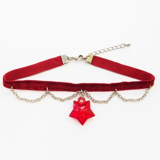 Red velvet choker/necklace with blink red star and silver chain
